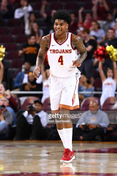 USC guard Kevin Porter Jr smiles after hitting a three pointer during a college basketball game between the Robert Morris Colonials and the USC...
