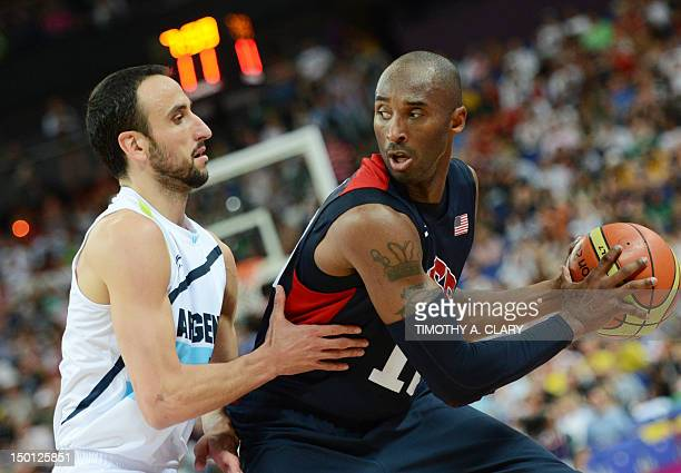 US guard Kobe Bryant is challenged by Argentinian guard Emanuel Ginobili during the London 2012 Olympic Games men's semifinal basketball game between...