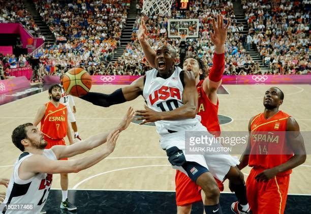 Guard Kobe Bryant jumps to score during the London 2012 Olympic Games men's gold medal basketball game between USA and Spain at the North Greenwich...