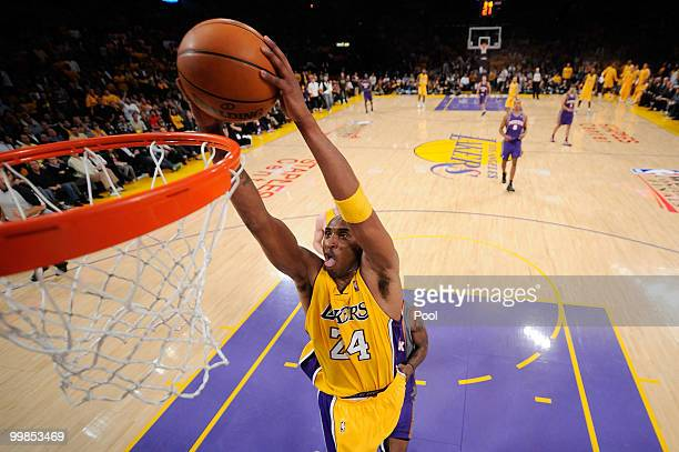 Guard Kobe Bryant of the Los Angeles Lakers dunks the ball against the Phoenix Suns in Game One of the Western Conference Finals during the 2010 NBA...