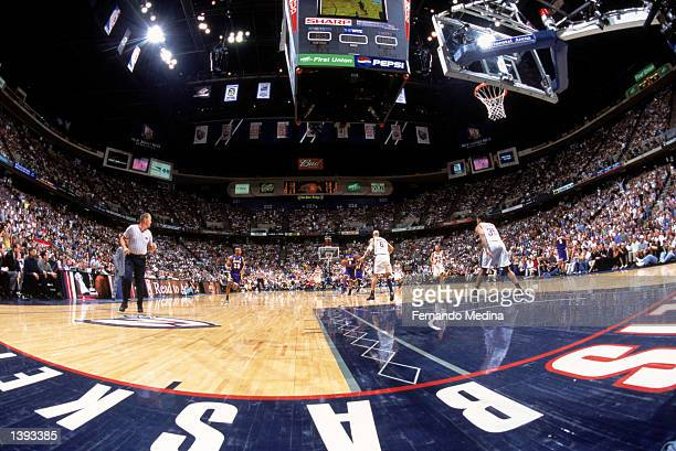 Guard Kobe Bryant of the Los Angeles Lakers leads the fast break during Game Four of the 2002 NBA Finals against the New Jersey Nets at Continental...
