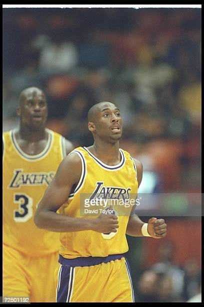 Guard Kobe Bryant of the Los Angeles Lakers moves down the court during a game against the Minnesota Timberwolves on November 3 1996 at the Great...
