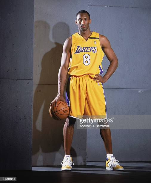 Guard Kobe Bryant of the Los Angeles Lakers poses for a studio portrait during the Lakers Media Day on September 30 2002 at the Staples Center in Los...