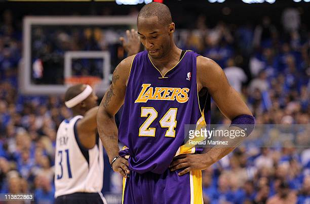 Guard Kobe Bryant of the Los Angeles Lakers reacts during a 9892 loss against the Dallas Mavericks in Game Three of the Western Conference Semifinals...
