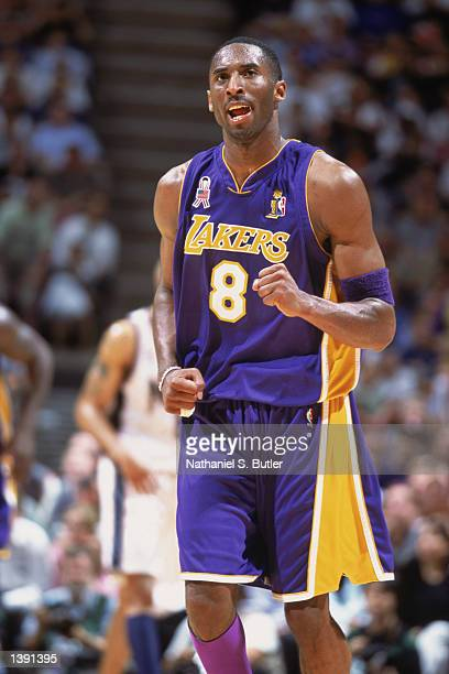 Guard Kobe Bryant of the Los Angeles Lakers runs up the court during Game Four of the 2002 NBA Finals against the New Jersey Nets at Continental...