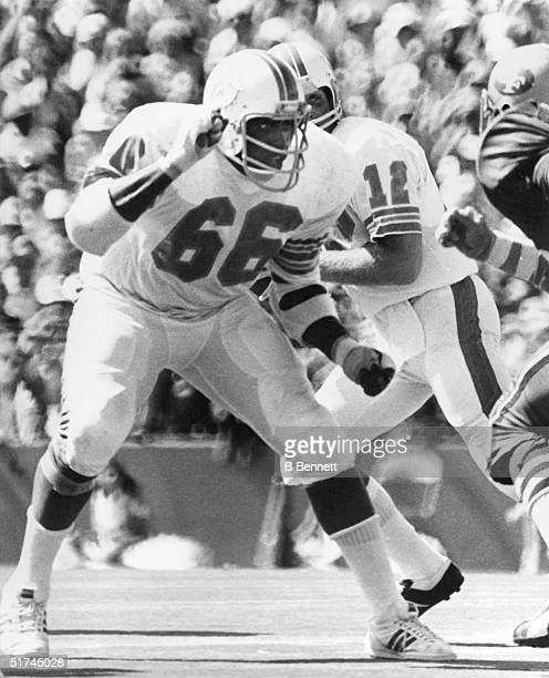 Guard Larry Little of the Miami Dolphins protects the quarterback during a game circa 1970's Lawrence Chatmon Little played for the Dolphins from...