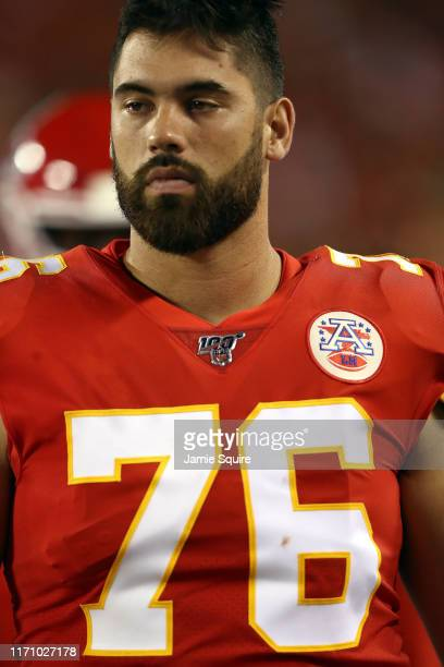Guard Laurent DuvernayTardif of the Kansas City Chiefs watches from the sidelines during the preseason game against the San Francisco 49ers Arrowhead...