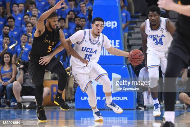 UCLA guard LiAngelo Ball brings the ball up the court during an college exhibition basketball game between the Cal State Los Angeles and the UCLA...