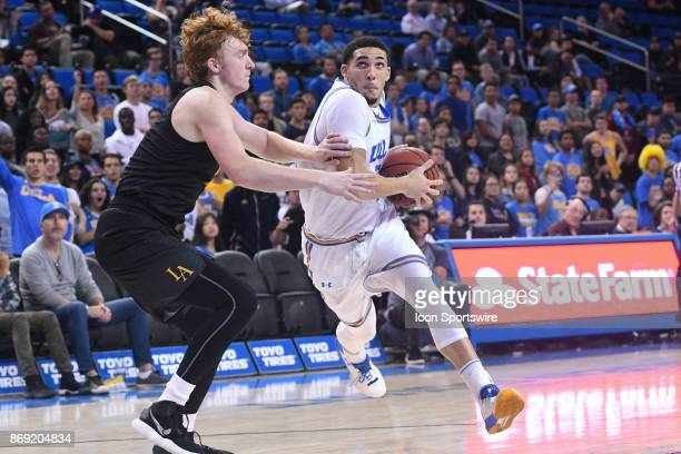 UCLA guard LiAngelo Ball drives to the basket during an college exhibition basketball game between the Cal State Los Angeles and the UCLA Bruins on...