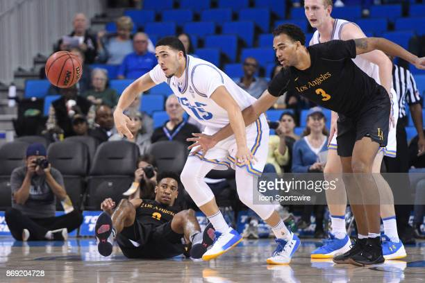 UCLA guard LiAngelo Ball tries to steal the ball during an college exhibition basketball game between the Cal State Los Angeles and the UCLA Bruins...