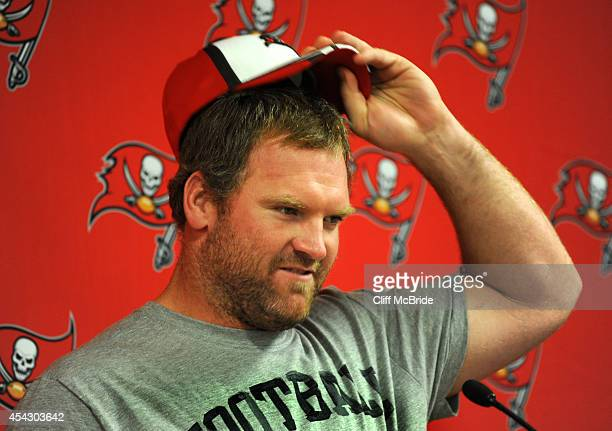Guard Logan Mankins of the Tampa Bay Buccaneers speaks with the media before their preseason game with the Washington Redskins at Raymond James...