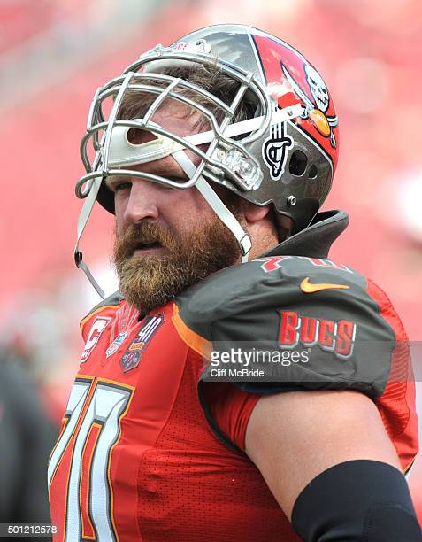Guard Logan Mankins of the Tampa Bay Buccaneers warms up before the game against the New Orleans Saints at Raymond James Stadium on December 13, 2015...
