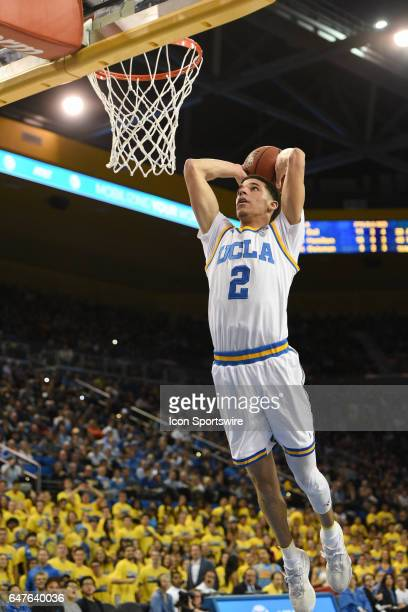 UCLA guard Lonzo Ball goes up for a dunk during a college basketball game between the Washington Huskies and the UCLA Bruins on March 1 at Pauley...