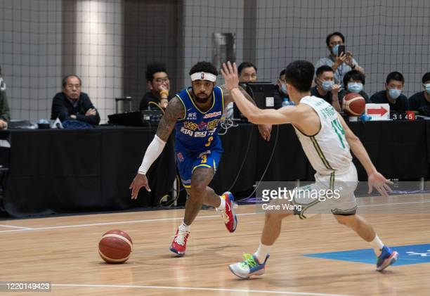 Guard Marcus Keene of Yulon Luxgen Dinos dribble during the SBL Finals Game One between Taiwan Beer and Yulon Luxgen Dinos at Hao Yu Trainning Center...