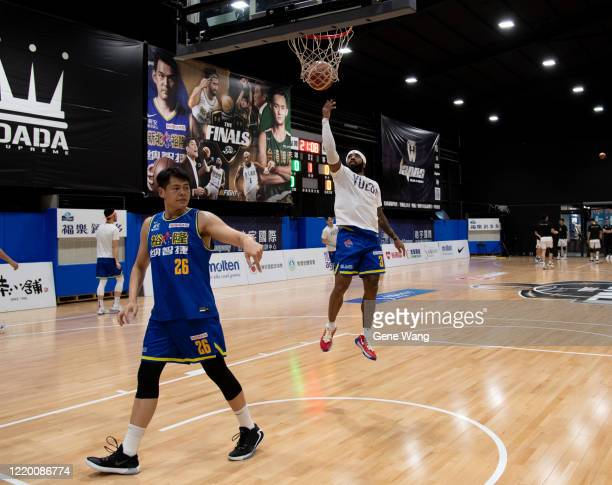 Guard Marcus Keene of Yulon Luxgen Dinos practice prior to the SBL Finals Game One between Taiwan Beer and Yulon Luxgen Dinos at Hao Yu Trainning...