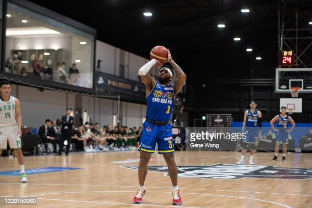 Guard Marcus Keene of Yulon Luxgen Dinos attempt to throw a free throw shot during the SBL Finals Game One between Taiwan Beer and Yulon Luxgen Dinos...