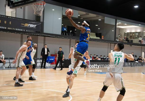 Guard Marcus Keene of Yulon Luxgen Dinos made a layup shot the SBL Finals Game One between Taiwan Beer and Yulon Luxgen Dinos at Hao Yu Trainning...