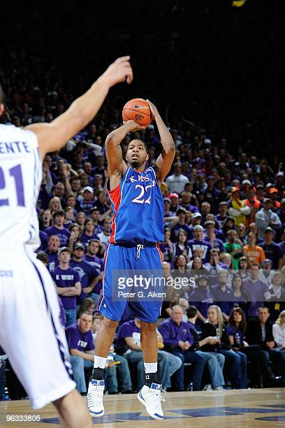Guard Marcus Morris of the Kansas Jayhawks puts up a jump shot in the first half against the Kansas State Wildcats on January 30 2010 at Bramlage...