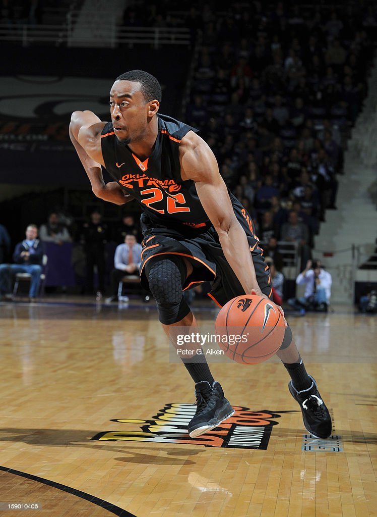 Guard Markel Brown #22 of the Oklahoma State Cowboys drives to the basket against the Kansas State Wildcats during the first half on January 5, 2013 at Bramlage Coliseum in Manhattan, Kansas. Kansas State defeated Oklahoma State 73-67.