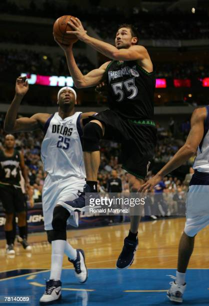 Guard Marko Jaric of the Minnesota Timberwolves takes a shot against Erick Dampier of the Dallas Mavericks on November 28 2007 at American Airlines...