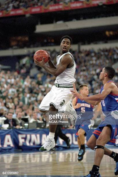 Guard Mateen Cleaves of Michigan St. And Florida guard Justin Hamilton during the NCAA Photos via Getty Images Division I Men's Basketball Final Four...