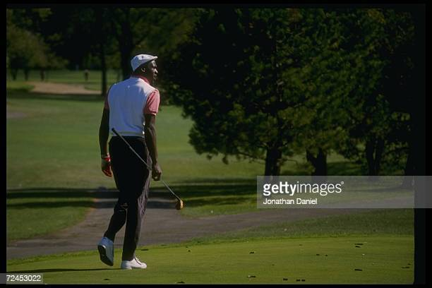 Guard Michael Jordan of the Chicago Bulls at a golfing event