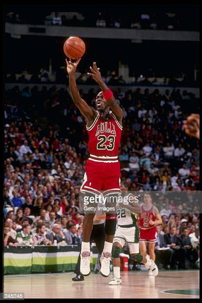 Guard Michael Jordan of the Chicago Bulls in action during a game against the Milwaukee Bucks at the Bradley Center in Milwaukee, Wisconsin.