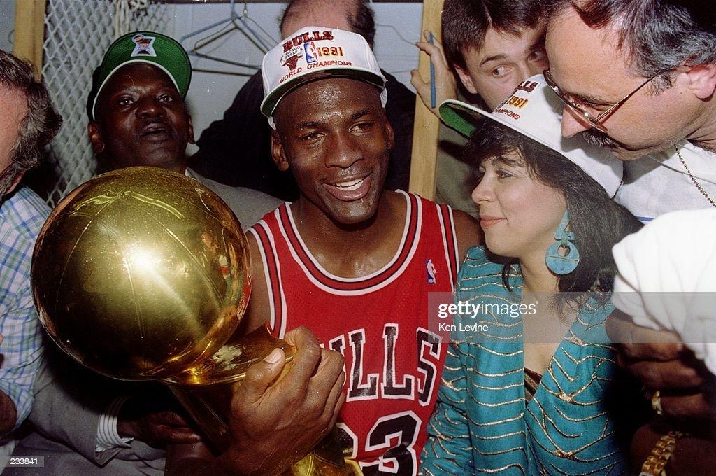 Guard Michael Jordan Of The Chicago Bulls Sits Nexts To