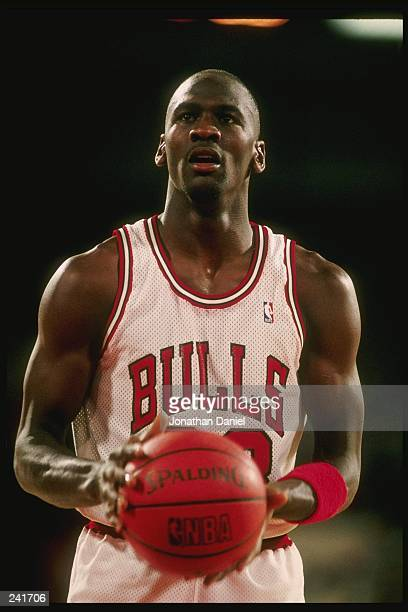 Guard Michael Jordan of the Chicago Bulls stands at the foul line during a game at Chicago Stadium in Chicago Illinois Mandatory Credit Jonathan...