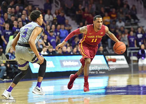 Guard Monte Morris of the Iowa State Cyclones dribbles the ball up court against guard Kamau Stokes of the Kansas State Wildcats during the first...