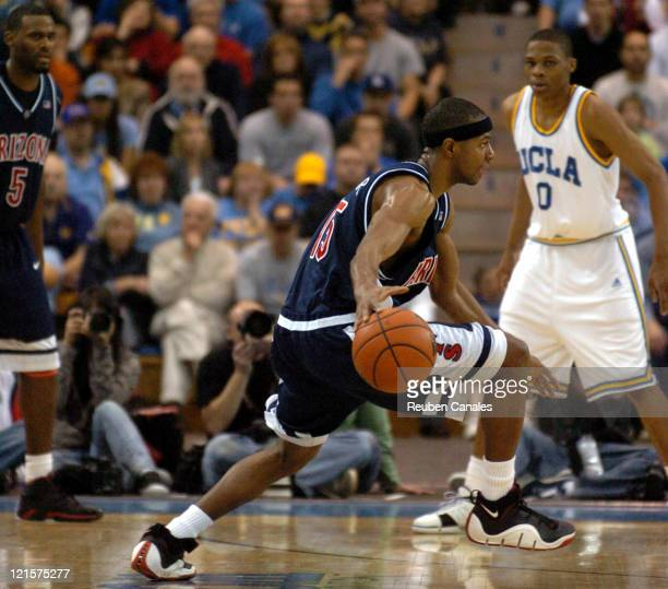 Guard Mustafa Shakur of the University of Arizona Wildcats in a 73 to 69 loss to the UCLA Bruins on January 20 2007 at Pauley Pavillion in Westwood...