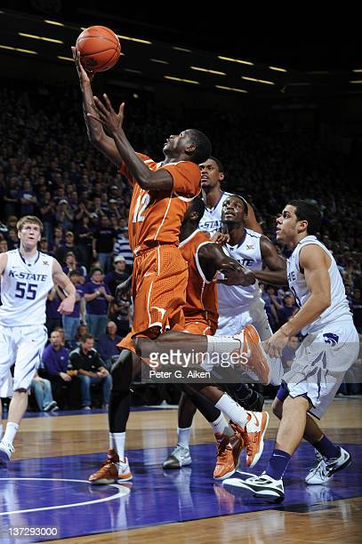 Guard Myck Kabongo of the Texas Longhorns drives in for a basket against the Kansas State Wildcats during the first half on January 18, 2012 at...