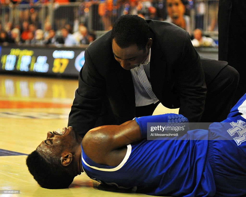 Guard Nerles Noel #3 of the Kentucky Wildcats is injured in the second half against the Florida Gators February 12, 2013 at Stephen C. O'Connell Center in Gainesville, Florida. Noel left the game and the Gators won 69-52.