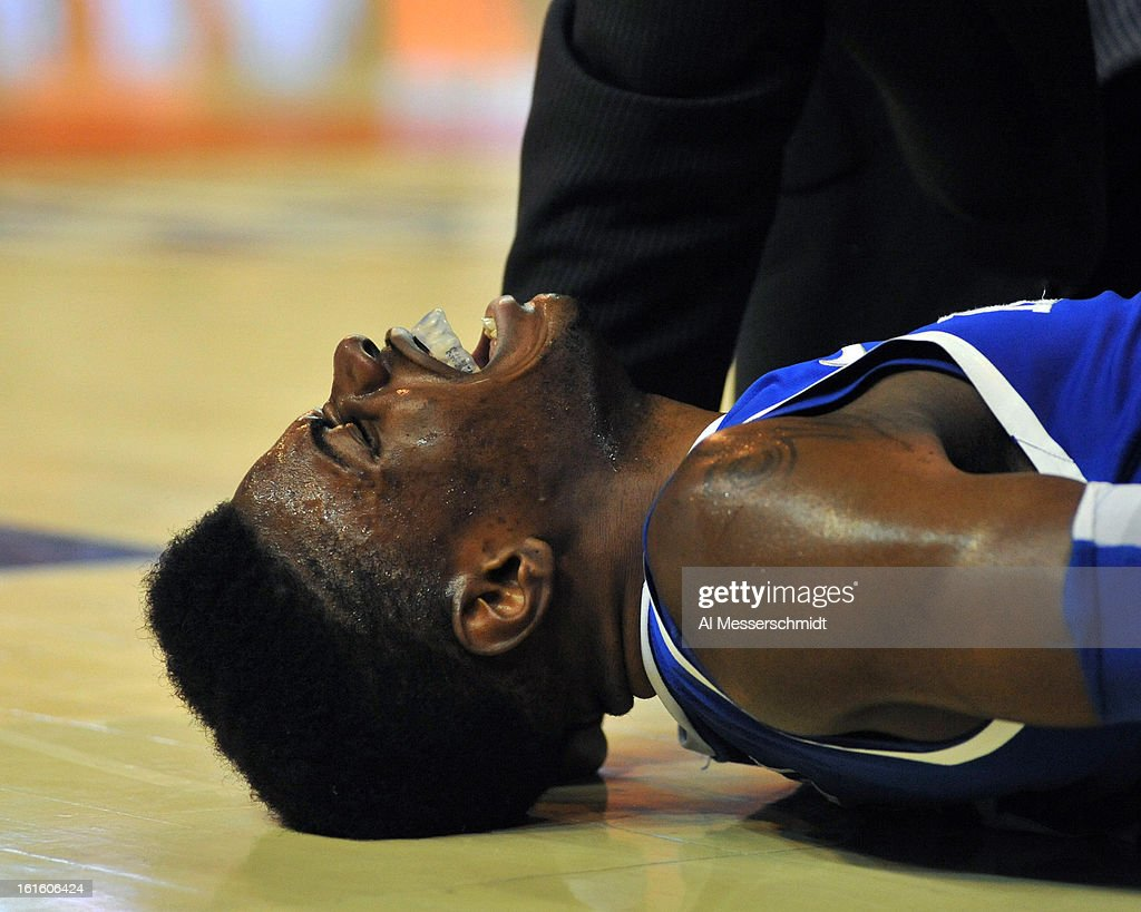 Guard Nerles Noel #3 of the Kentucky Wildcats yells after an injury in the second half against the Florida Gators February 12, 2013 at Stephen C. O'Connell Center in Gainesville, Florida. Noel left the game and the Gators won 69-52.