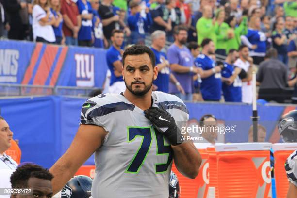 Guard Oday Aboushi of the Seattle Seahawks in action against the New York Giants during their game at MetLife Stadium on October 22 2017 in East...