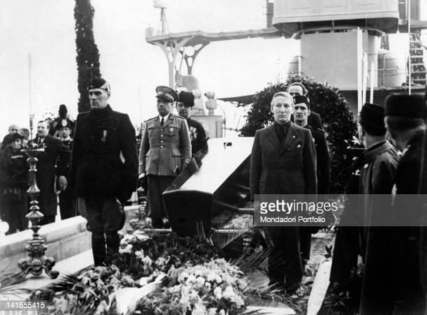 Guard of honour for the coffin of Gabriele D'Annunzio on the bows of the ship installed at the Vittoriale Gardone Riviera 3rd March 1938