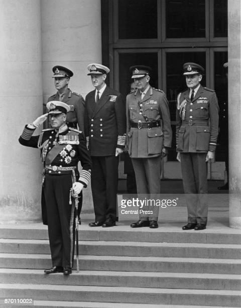 A guard of honour representing the Army Navy and RAF attends the farewell ceremony of Earl Mountbatten of Burma as he retires from his post as Chief...