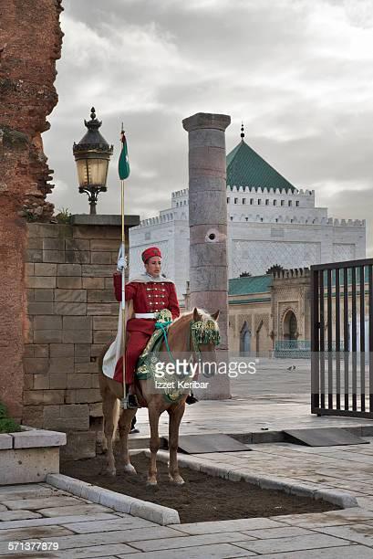 Guard on horse at Mohammed V Mausoleum in Rabat