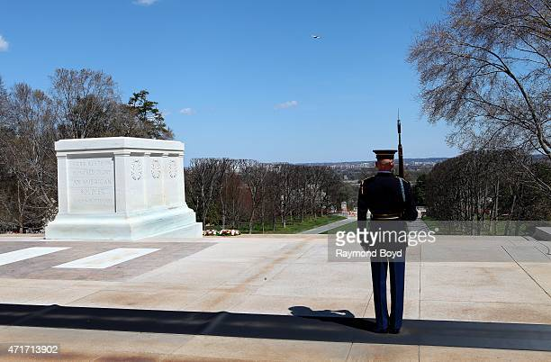 A guard pauses at the Tomb of the Unknown Soldier inside Arlington National Cemetery on April 11 2015 in Arlington Virginia