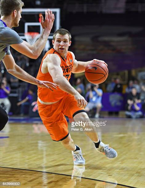 Guard Phil Forte III of the Oklahoma State Cowboys drives with the ball against the Kansas State Wildcats during the first half on February 22 2017...