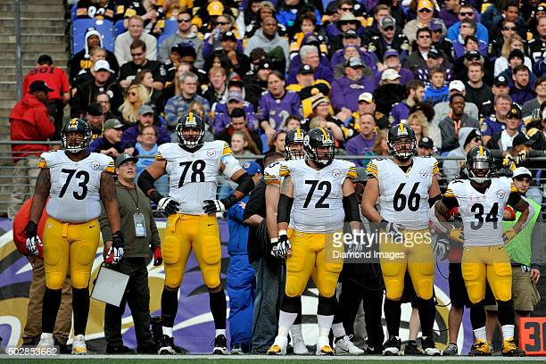 Guard Ramon Foster tackle Alejandro Villanueva center Cody Wallace guard David DeCastro and running back DeAngelo Williams of the Pittsburgh Steelers...