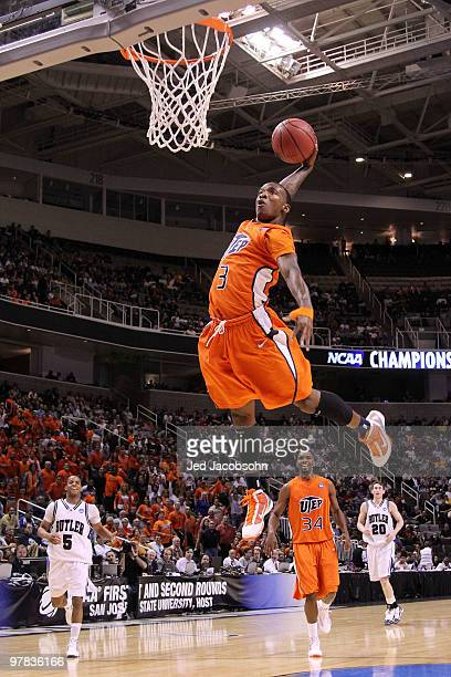 Guard Randy Culpepper of the UTEP Miners dunks the ball against the Butler Bulldogs during the first round of the 2010 NCAA men's basketball...