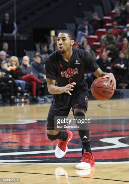ASU guard Rashad Lindsey drives the ball in the game between the Arkansas State Red Wolves and the Georgia Southern Eagles on February 25 2017 at the...