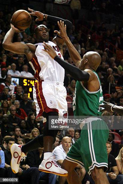 Guard Ray Allen of the Boston Celtics defends guard Dwyane Wade of the Miami Heat in Game Three of the Eastern Conference Quarterfinals during the...