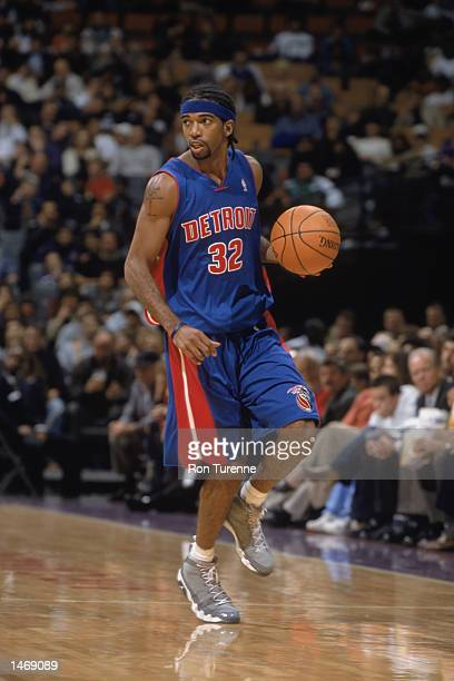 Guard Richard Hamilton of the Detroit Pistons dribbles the ball during the preseason NBA game against the Toronto Raptors on October 8 2002 at the...