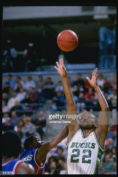 Guard Ricky Pierce of the Milwaukee Bucks in action against guard Isiah Thomas of the Detroit Pistons Mandatory Credit Jonathan Daniel /Allsport
