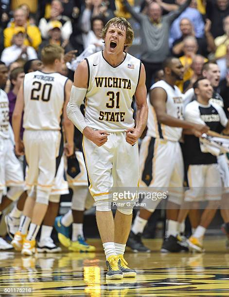 Guard Ron Baker of the Wichita State Shockers reacts after a Shockers scoring run against the UNLV Rebels during the first half on December 9 2015 at...