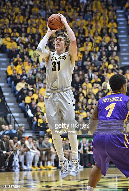 Guard Ron Baker of the Wichita State Shockers shoots the ball against the Northern Iowa Panthers during the first half on February 28 2015 at Charles...