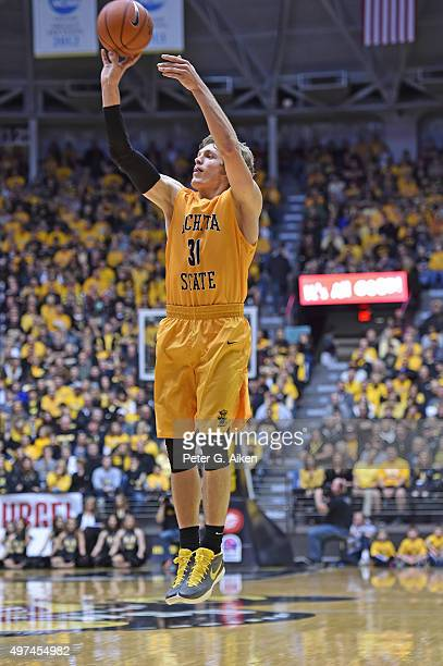 Guard Ron Baker of the Wichita State Shockers takes a shot against the Charleston Southern Buccaneers during the first half on November 13 2015 at...