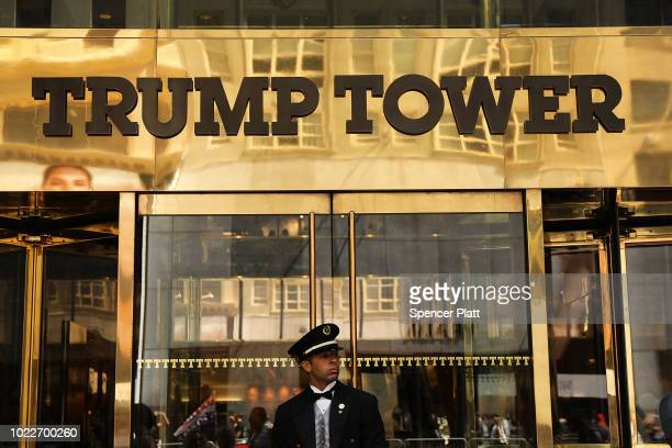 A guard stands outside of Trump Tower on Fifth Avenue in Manhattan on August 24 2018 in New York City Following new allegations over hush money that...